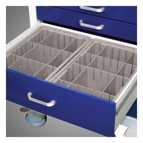 Deep Configurable Gray Plastic Divider Tray